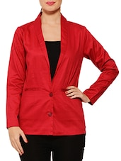 Solid Red Cotton Blazer - By