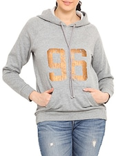 Grey Hooded Cotton Poly Fleece Sweatshirt - By