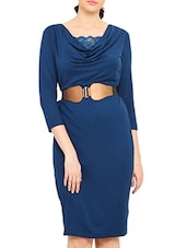 Navy Blue Knee Length Viscose Spandex Dress - By