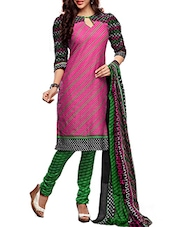 Multicoloured Cotton Printed Semi Stitched Suit Set - By