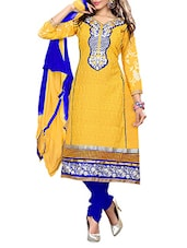Yellow Cotton Embroidered Semi Stitched Suit Set - By
