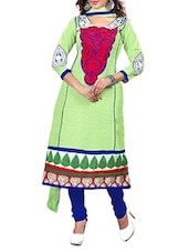 Green Cotton Embroidered Semi Stitched Suit Set - By