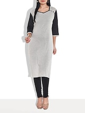 Black And Grey Cotton Kurta - By