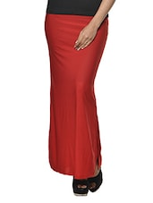 Red Polyester-Knit Long Skirt - Ursense