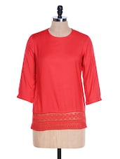 Red Top With Lace Hem - Femella