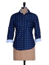 Solid Blue Printed Shirt - Fast N Fashion - 958186