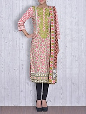 Pink And White Printed Cotton Unstitched Suit Set - By