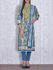 Blue Printed Cotton Unstitched Suit Set - By