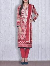 Crimson Printed Cotton Unstitched Suit Set - By