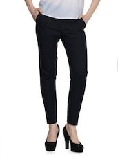 Solid Navy Blue Formal Pants - Fast N Fashion