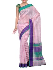 Pink And White Sheer Check Cotton Saree - SSPK