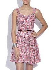 Floral Printed Pink Skater Dress With Belt - By