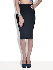 Black Poly Viscose Spandex Knit Pencil Midi Skirt - By