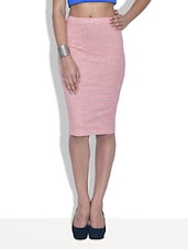 Pink Striped Poly Viscose Knit Pencil Midi Skirt - By