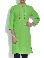 Lime Green Cotton Kurta With Mirror Work - By