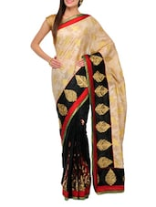 Black And Beige Half And Half Chanderi Banarasi Saree - SSPK