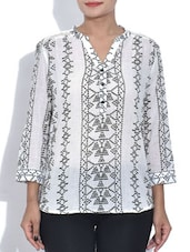 White Printed Quarter Sleeved Cotton Tunic - By