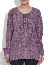 Purple Printed Full Sleeved Viscose Top - By