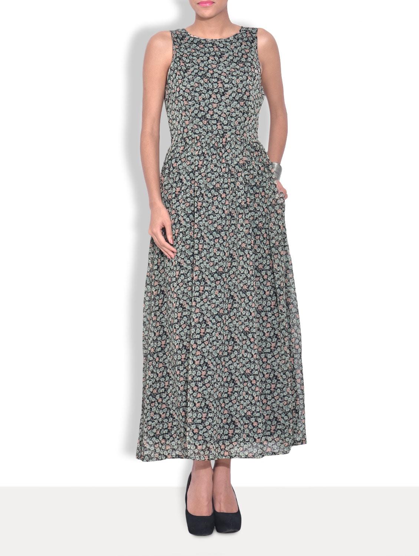 Black Chiffon Printed Sleeveless Maxi Dress - By