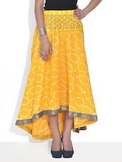 Yellow Printed Flared Cotton Skirt - By