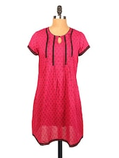 Printed Kurti With Lace At Yoke - Xora