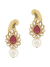 Purple Brass Embellished Drop Earrings - By
