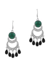 Green  Embellished Drop Earrings - By