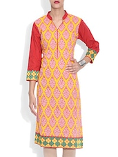 Yellow Cotton Printed Three Quarter Sleeved Neck Kurta - By
