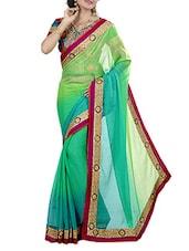 Green Silk Ombre Printed Zari Printed Saree - By