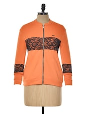 Orange Fleece Zipper Sweatshirt - KAXIAA