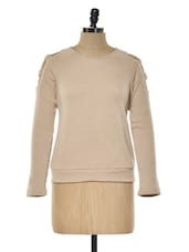 Beige Cut-out Shoulder Woolen Top - KAXIAA