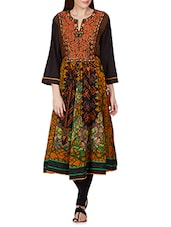 Mustard, Black Colour  VISCOSE COTTON GEORGETTE Ethnic Set - By