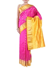 Pink Embroidered Pure Silk Saree - By