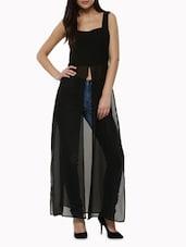 Black Poly Georgette Cap Dress - By