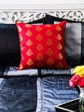 Blue And Red Cotton Brocade Cushion Cover - By