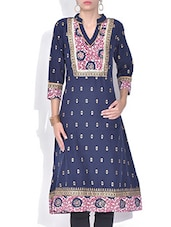 Navy Blue Printed Cotton Kurta - By
