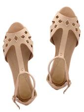 Laser Cut Beige Peeptoe Flat Sandals - KNIGHT N GALE