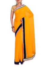 Red Georgette Mirror Worked Saree - By