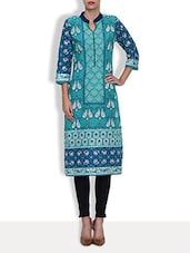 Blue Cotton Printed Three Quarter Sleeved Long Kurta - By