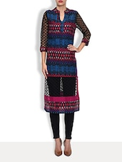 Multicolored Cotton Printed Three Quarter Sleeved Long Kurta - By