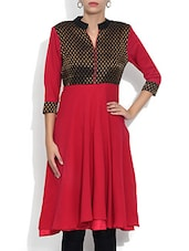 Pink Georgette Printed Three Quarter Sleeved A Line Kurta - By