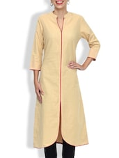 Beige Cotton Printed Three Quarter Sleeved A Line Kurta - By