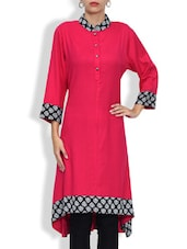 Pink Rayon And Viscose Printed Three Quarter Sleeved A Line Kurta - By