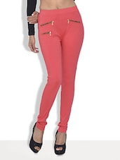 Peach Cotton Lycra Zipper Detailed Leggings - By