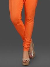 Orange Churidaar Cotton Leggings - Stylenmart