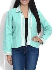 Sea Green Laced Cotton Jacket - By