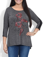 Grey Heels Printed Cotton Top - By
