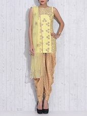 Yellow And Gold Dupion Silk Embroidered Dhoti Suit - By