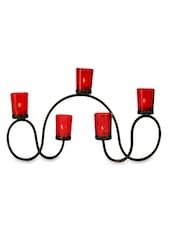 Brown Iron And Glass Tea Light Holders With Red Glass - By - 9592125