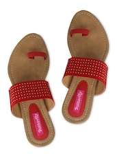 Red Faux Leather Studded Open Toe Flat Sandals - By